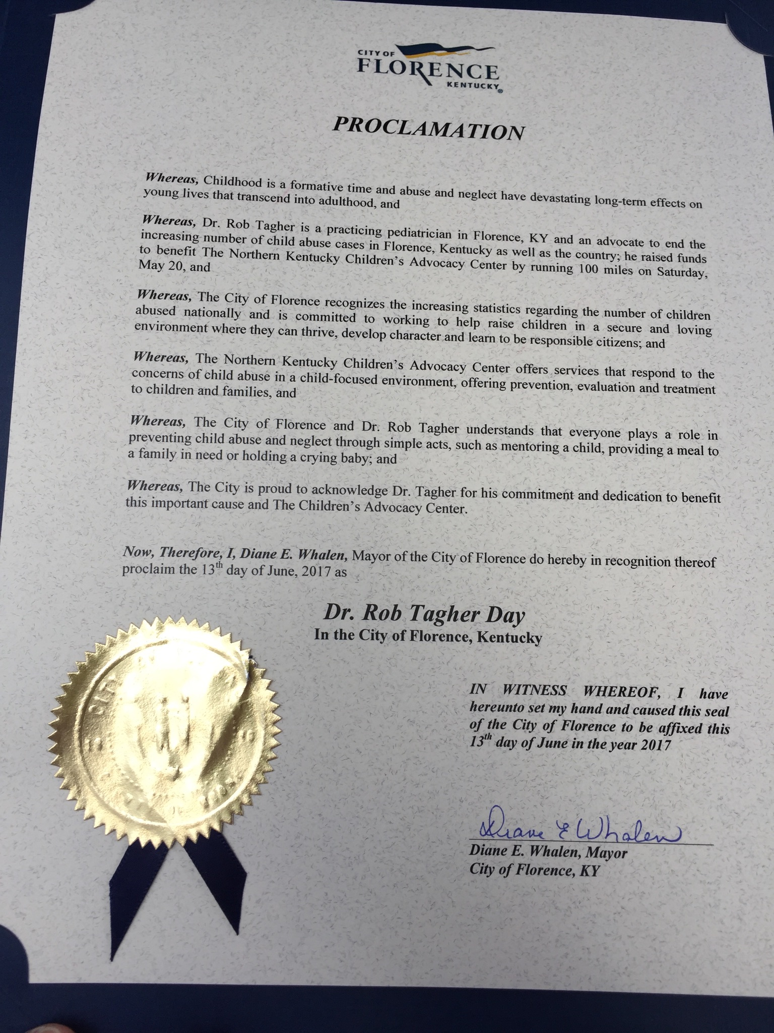 Dr. Rob Now Has His Own Day… The City of Florence Made June 13, 2017 Dr. Rob Tagher Day!